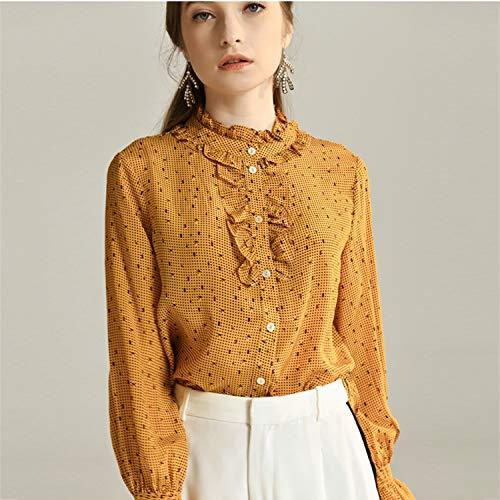 Con Primavera Puños Camisa Top Seda Amarillo Claros Monos Blusa Xcxdx De Estampado Trompeta Lunares AH5wfOq