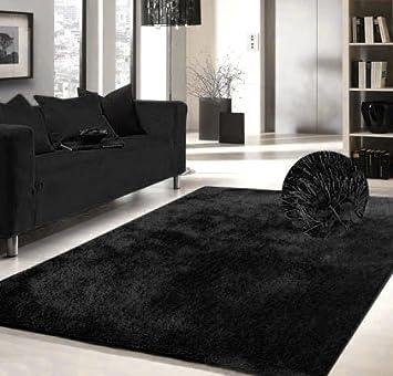 Luxury Viscose Shag Collection Black Shag Area Rug 5u0027x7u0027 Hand Tufted