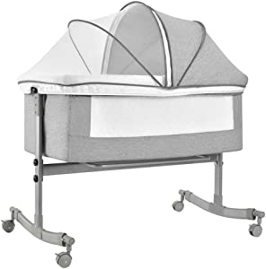 YLOVOW Baby Bassinet, Bedside Sleeper for Newborn Baby, Easy Folding Portable Crib, 4 Height Adjustment