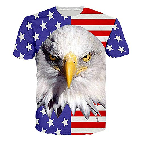 RAISEVERN Unisex Short Sleeve USA Flag 3D Eagle Printed Cool Crew Neck American T-Shirt Star Stripe Tees