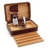 Genuine Leather Ostrich Pattern Cigar Travel Humidor - Ehonestbuy Spanish Cedar Wood Lined Ciger Box for Husband, Groomsmen Wedding Gift - Cutter Set