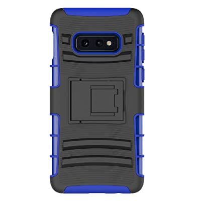 Samsung Galaxy S10E Stand Case, HLCT Rugged Shock-Proof Dual Layer PC and Soft Silicone Case with Built in Kickstand (Blue)