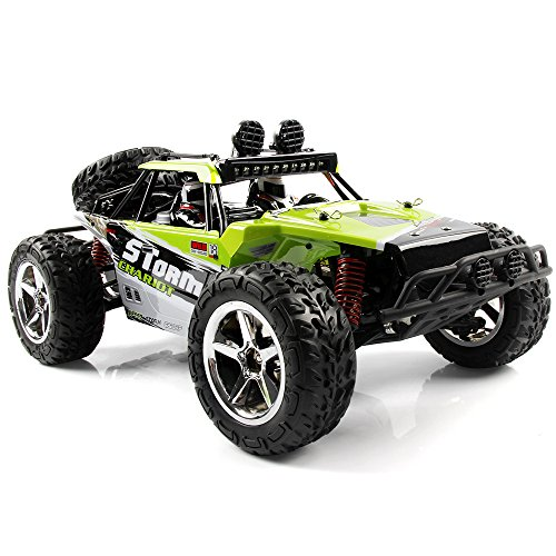 SZJJX RC Car, 1/12 Scale 4WD High Speed Vehicle 35MPH+ 2.4Ghz Radio Remote Control with LED Light Vision - Green (12 Speed Control)