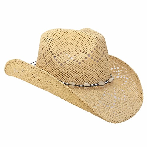 Country Straw Shapeable Cowboy Hat w/ Beads, Creme