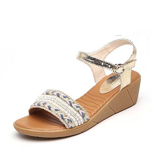 Hæle Mode Komfortable Hvidguld Sandaler Kvinder 33 Høje Sølv Sommer CwOX7qn