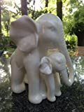 White Porcelain Mother and Baby Elephant Statue/figurine in High Gloss Finish.