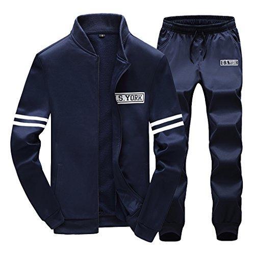 Sun Lorence Men's Casual Slim Fit Zipper Sweat Suit Sport Tracksuit Set Activewear