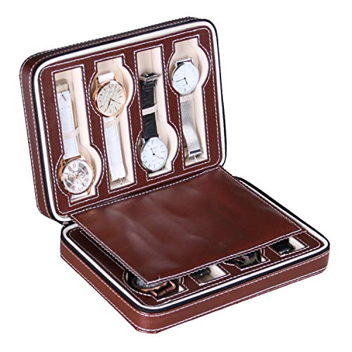 AUTOARK 8 Slot Leather Portable Travel Watch Case Storage Organizer,Brown,AW-049