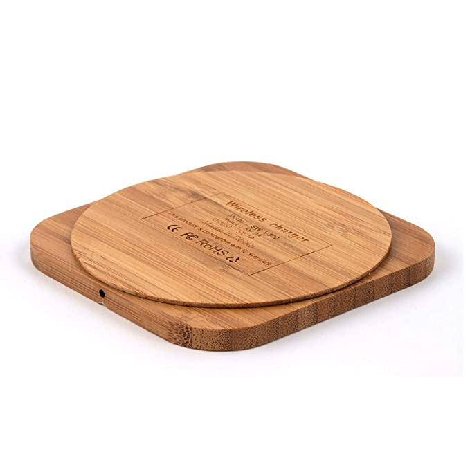 Jamicy® Wireless Charger Qi Ladepad mit Slim Holz Ladegerät Dock Mat für Samsung Note9 S9 S8 Plus S7 S6 Edge Hinweis 9 8, iPh