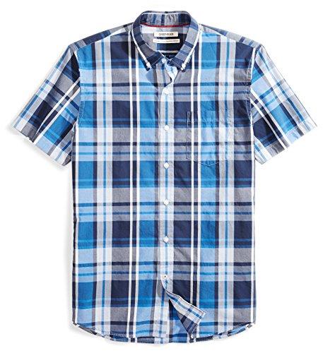 Goodthreads Men's Standard-Fit Short-Sleeve Large-Scale Plaid Shirt, Blue/Navy, Large Tall (Button Plaid Blue Shirt Down)