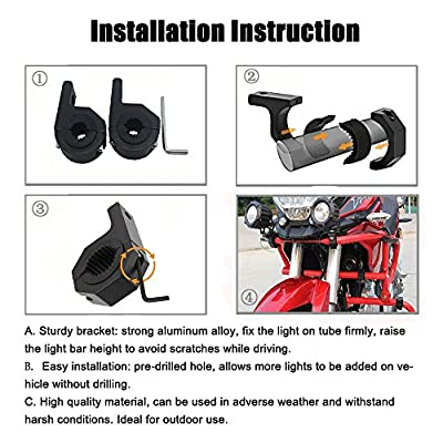 LED Light Bar Mounting Bracket Kit LED Off-Road Light Horizontal Bar Tube Clamp Roof Roll Cage Holder 1.5inch/2inch-2 years Warranty(Pack of 2): Automotive