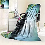 YOYI-HOME Digital Printing Duplex Printed Blanket Spa Decor Tower Stone and Hibiscus with Bamboo On The Water Blurred Background Summer Quilt Comforter /W31.5 x H47