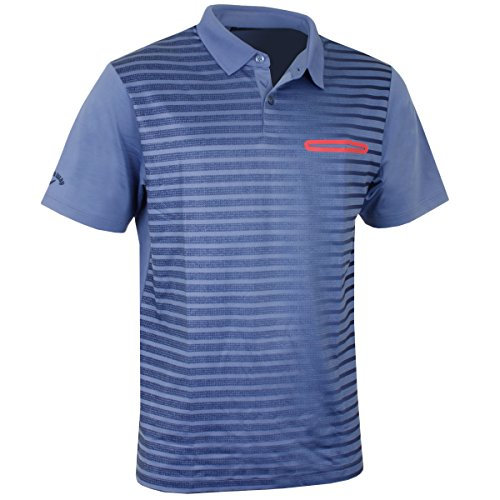 (Callaway 2017 Ombre Pocket Striped Printed Opti-Dri Stretch Mens Golf Polo Shirt Moonlight Blue Medium )