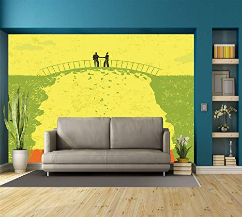 (Funky Wall Mural Sticker [ Grunge Decor,Two Men Shaking Hands and Sharks under Bridge Business Murky Illustration,Yellow Green ] Self-adhesive Vinyl Wallpaper / Removable Modern Decorating Wall)