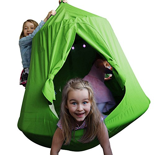 (TopEva Waterproof Hanging Tree&Ceiling Hammock Tent Kids Sky Castle Paradise with Led Decoration Lights)