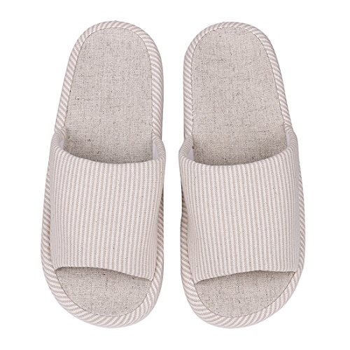 Support Open Slip Toe Slippers Womens Indoor Arch House Shevalues Flax On Tatami Casual Beige Slippers Cotton Slippers 5qOxpxvwT