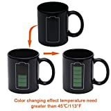Heat Color Changing Mug Morning Coffee Mug Thermometer Magic Sensitive Porcelain Cup Tea Cup Novelty Gifts for Farther, Boyfriend, Brother, Friends, 11 Oz (Battery)