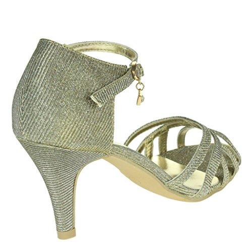 Mujer Señoras Brillar Dos partes Peep Toe Correa de tobillo Tacón medio Noche Fiesta Boda Paseo Sandalias Zapatos Talla Estaño