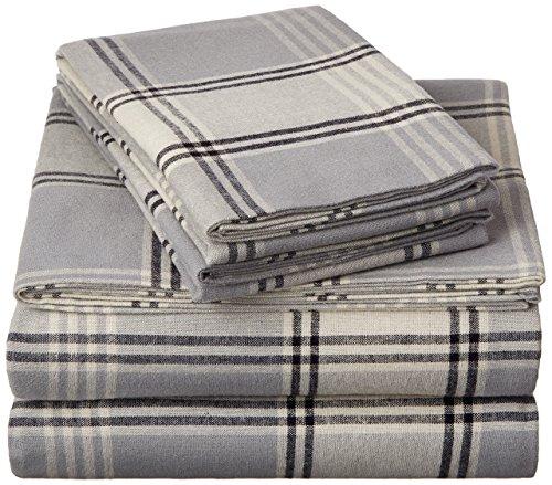 Plaid Fleece Sheet Set - Pinzon 160 Gram Plaid Flannel Sheet Set - Twin XL, Grey Plaid - FLSS-GYPL-TXL