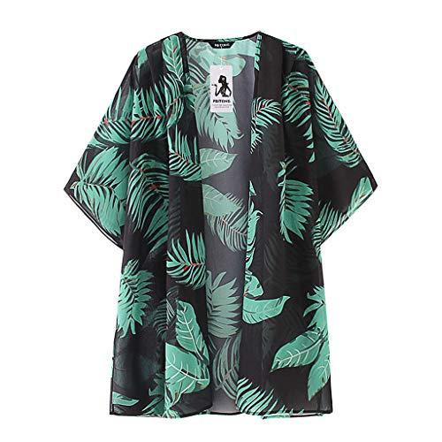 HIRIRI Women Cardigan Shirt Leaves Print Chiffon Summer Beach Kimono Short Sleeve Blouse Shawl Loose Top Green