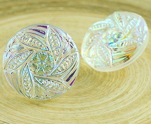 Glass Button Flower Beads - 9