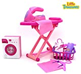 Little Treasures Mini Laundry Toy Family Play Set – ideal for 3+ Kids with ironing board, ironer featuring light and sound, laundry basket, hangers, cloth pegs, cleaning detergent and spray bottle