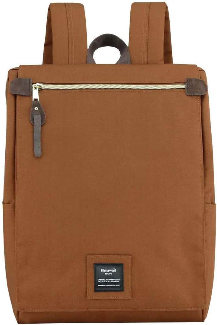 Himawari Travel School Backpack with Laptop Compartment for Women Men 15.6 inch- Brown
