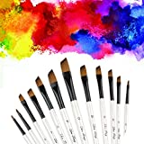Angular Paint Brush, CBTONE 12pcs Nylon Hair Angled Paint Brushes Set Art Paintbrush for Watercolor, Acrylic, Gouache, Oil Painting - White