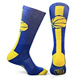 ChalkTalkSPORTS Athletic Half Cushioned Crew Socks | Mid Calf | Basketball Superelite | Royal Blue/Gold
