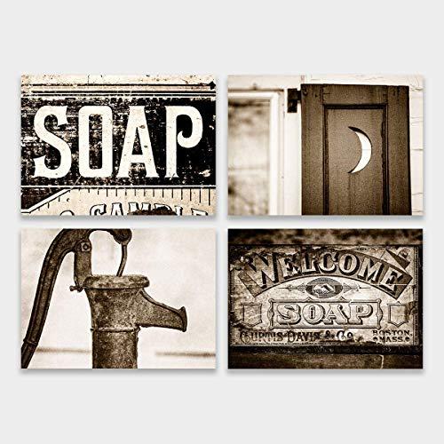 (Sepia Laundry Room Decor Set of 4 Unframed 5x7