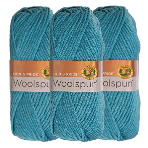 (Lion Brand (3 Pack) Woolspun Acrylic & Wool Soft Aquamarine Blue Yarn for Knitting Crocheting Bulky)