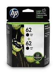 HP 62 Black Original Ink Cartridges, 2 pack (T0A52AN)