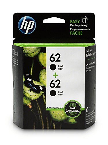 HP 62 Black Original Ink Cartridges, 2 Cartridges (T0A52AN)