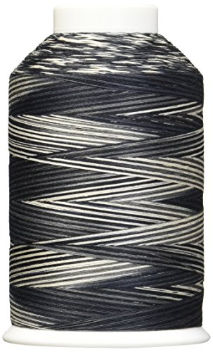 YLI 2443005V 3-Ply Machine Cotton Quilting Variegated Thread, 3000 yd, White to Black