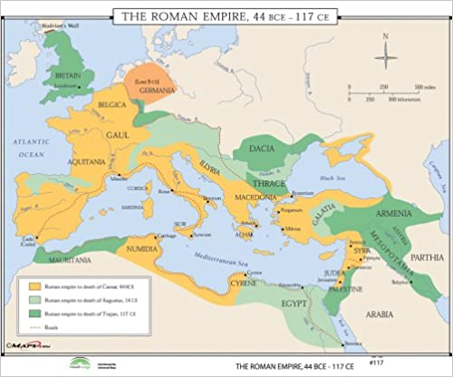 Gaul World Map.Amazon Com Growth Roman Empire World History Wall Maps