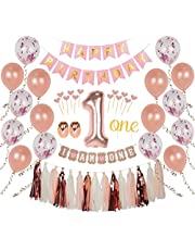 Ellia First Birthday Girl Decorations, 1st Smash Cake Fun Party Set, Rose Gold Pink Decor - One Topper, Confetti Balloons, Bday Bunting, I am One Banner, Tassels, Ribbon, Heart Sticks