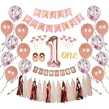 Ellia First Birthday Girl Decorations 1st Smash Cake Fun Party Set Rose Gold Pink
