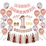 Ellia First Birthday Girl Decorations, 1st Smash Cake Fun Party Set, Rose Gold