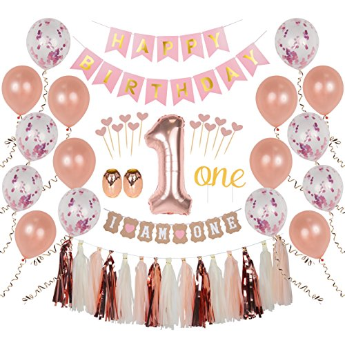 "Ellia First Birthday Girl Decorations, 1st Smash Cake Fun Party Set, Rose Gold Pink Decor - ""One"" Topper, Confetti Balloons, Bday Bunting, ""I am One"" Banner, Tassels, Ribbon, Heart Sticks"