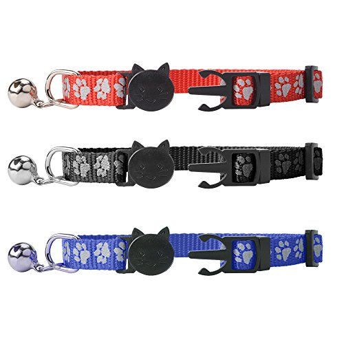 Breakaway-Cat-Collar-with-Bell-SCENEREAL-Reflective-Cute-Safe-Outdoor-Safety-Cat-Collars-Set-of-3-Paw-Pattern-Design-Adjustable-from-8-11-Red-Black-and-Blue