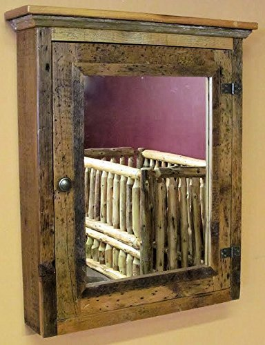 High Quality Barnwood Medicine Cabinet With Mirror