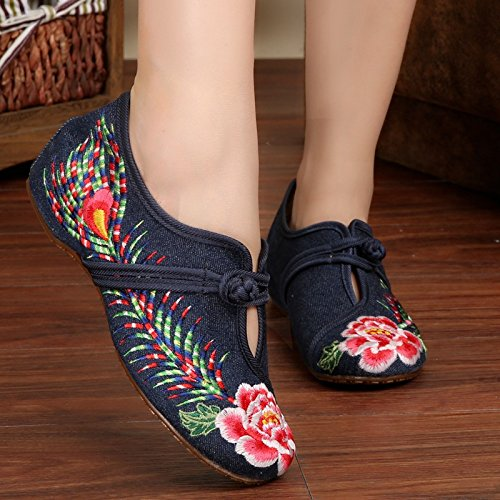 Bottom Embroidered Shoes Blue Canvas Dance Oxfords Women Shoes YCdqFq