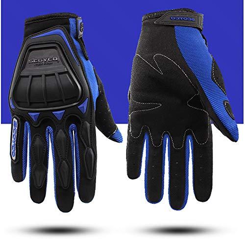 Reinforced Shell - SCOYCO Men's Spring Shell Reinforced Portable Breathable Riding Gloves for Motorbike/ATV/Scooter (Blue,M)
