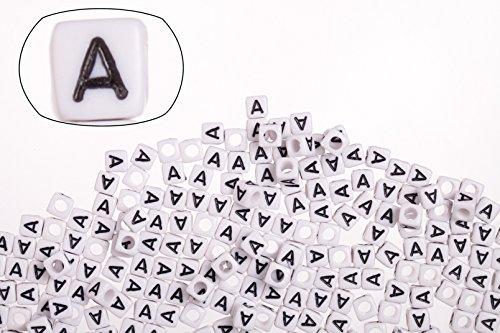 (Letter A white acrylic cube alphabet beads 6mm 50g/329pcs)