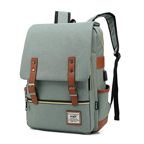 Fashion Trend Backpack For Teen Girls Boys,LIQING Preppy Style Unisex Waterproof Oxford School Backpack Student Daypack Rucksack College School Bag Laptop Backpack (Light green USB) ()