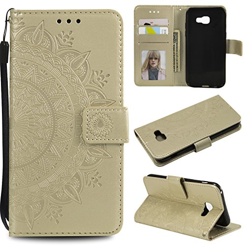 Galaxy A5 2017 Floral Wallet Case,Galaxy A5 2017 Strap Flip Case,Leecase Embossed Totem Flower Design Pu Leather Bookstyle Stand Flip Case for Samsung Galaxy A5 2017-Gold by Leecase