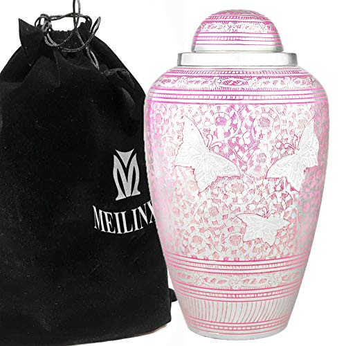 MEILINXU Cremation Urns Funeral Urns for Human Ashes Adult Memorial -Hand Made in Brass & Hand Engraved - Display Burial Urn at Home or in Niche at Columbarium (Pink Brilliant Butterflies, Large)