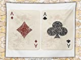 Lifestyle Decor Fleece Throw Blanket Ace of Diamonds Clubs Poker Cards Game Grunge Gambling Fortune Illustration Throw Cream Red