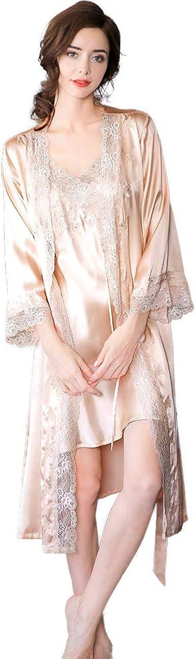 LEIQIA 100% Seda Batas Mujer Sexy Encaje Conjuntos Mujer Camisón Lencería Pijama de Seda Cuello V Ropa Dormir: Amazon.es: Ropa y accesorios