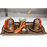Complete Turkish Coffee Set with Coffee Pot, Copper Turkish Coffee Set for Two, Express Shipping